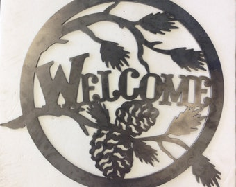 Welcome Home Circle W/Pinecones  Decor, Metal Decor, Welcome Sign