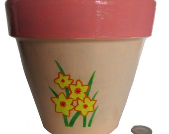 Daffodil Plant Pot, Orange and Cream Flowerpot, Floral Plant Pot, Clarice Cliff Inspired Pot, Painted Terracotta Pot,  Hand Painted Planter