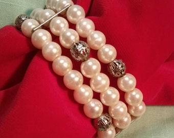 Fabulous Faux Pearl 3- Strand Bracelet~ Comfortable Elastic!