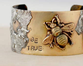 Bee Cuff Bracelet - BumbleBee Jewelry - Bee Cuff - Insect Bracelet - Bee Jewelry - Bee Bracelet - Be True Bracelet - Gift for Her