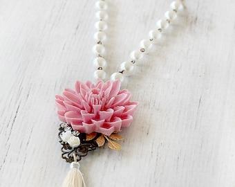 Tassel Jewelry - Long Tassel Necklace - Beaded Long Tassel Necklace - Boho Beaded Tassel Necklace- Bohemian Tassel Jewelry