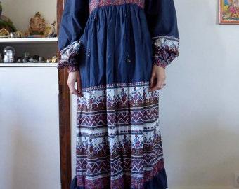 Vintage indian PHOOL dress block print hippie size M india