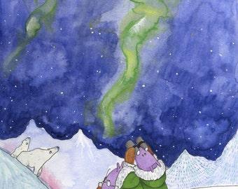 The Norwegian Northern Light,  Made in Norway, Illustration, childrens art, childrens wall decor, nursery decor.