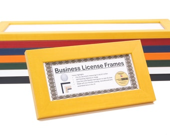 candy yellow business license certificate frames for professionals 35 by 85 inch up to 4x9 inch self standing easel back with hanger