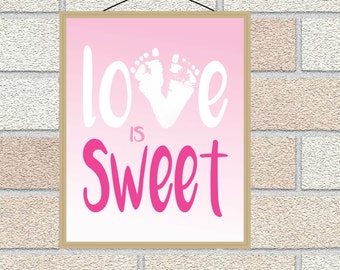 Baby Footprints Love is Sweet Baby Girl Personalized Nursery Art, Baby Boy Nursery Print, Play Room Wall Art, Footprint Gift for Baby