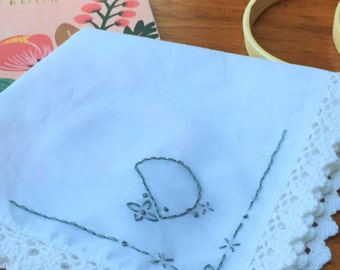 Hand Embroidered Handkerchief - Initial D
