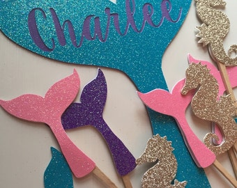 Personalized Turquoise Glitter Mermaid Tail Cake Topper