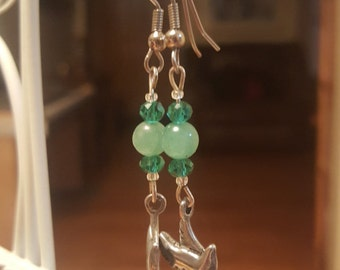 Adventurine and turquoise crystal sparrow drop earrings