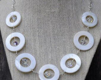 Mother of Pearl and Swarovski Crystal Necklace.  Mother of Pearl Necklace, Swarovski Crystal Necklace.  Statement Necklace. Pearl Necklace