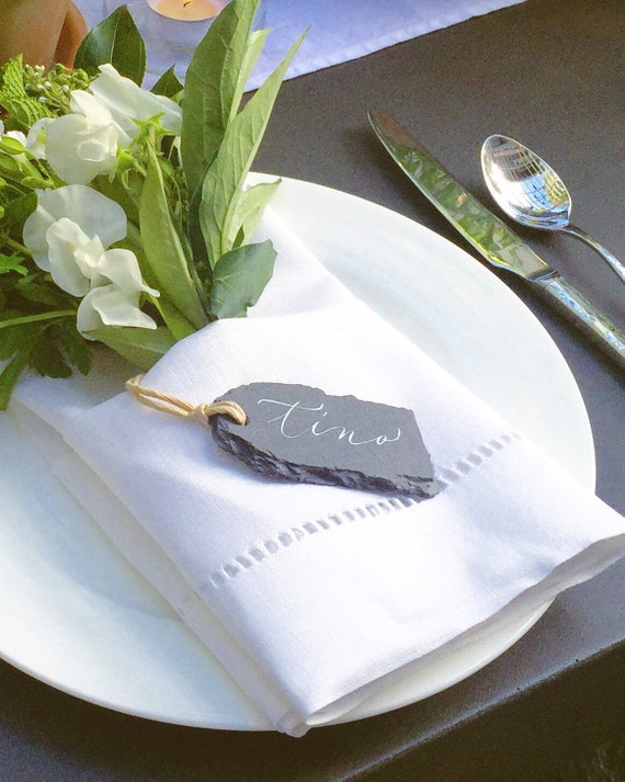 Slate Place Cards + Personalized Calligraphy | Place Card Calligraphy | Perfect for Receptions, Rehearsal Dinners, & Showers