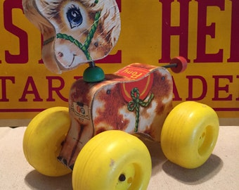 Vintage Fisher Price Prancy Pony Pull Toy, 617, 1965