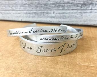 Personalized Name Bracelet Cuff Set - Hand Stamped Bracelets - Women's Bracelet - Bracelets for Grandmother - Message Bracelet - Silver Cuff