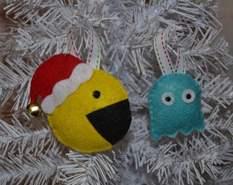 Pacman and Ghost Ornaments