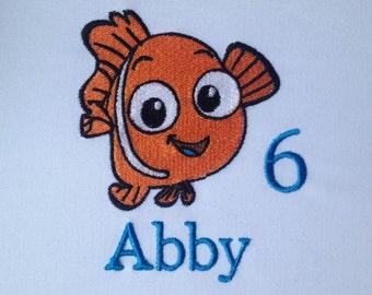 Finding Nemo Shirt, Finding Nemo Birthday Shirt, Finding Nemo Party, Finding Nemo Baby Shower, Baby Finding Nemo, Boys Nemo, Embroidered