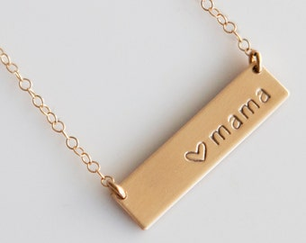 Mama Bar Necklace /Nameplate Necklace / Mothers Day Gift /New Mom Gift/Gold Fill/ Sterling Silver/ Bridesmaid Gift/Wedding gift/N150G