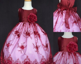 Flower girl dress Burgundy embroidery. Burgundy flower girl dress. Burgundy junior bridesmaid dress. Burgundy girls dress.