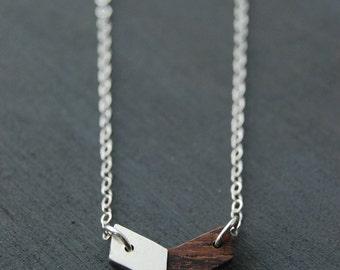 Wooden Chevron Necklace, Silver Chevron Necklace, Chevron Necklace, Wooden Jewelry, Wooden Necklace, Geometric Jewelry