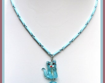 Pretty Baby Blue Kitty necklace