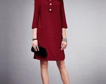 Short Marsala dress, Classic Straight silhouette dress, Formal dress.