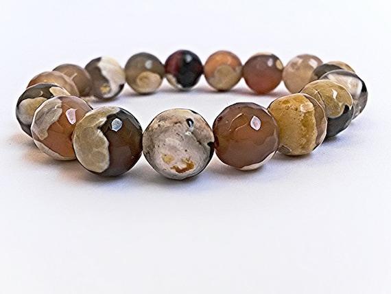 Christmas gift  Garnet Beads Wrist mala yoga bracelet for meditation Bracelet with Brown Yellow Mottled and Cream Marbled Beads Handmade