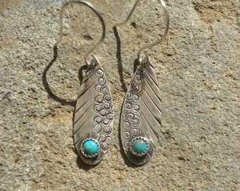 Turquoise Cabochon Silver Earrings