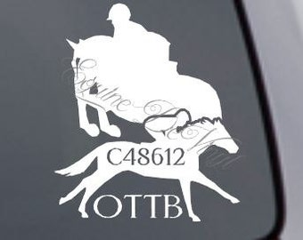 Custom Vinyl Car Window Decal - Equestrian Themed, Horse, OTTB off the track thoroughbred, english, hunter, jumper