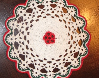 Christmas Doily Small Floral Center Doily Hand Crocheted 6 inch Doily