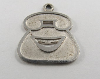 Outline of Old Rotary Phone Sterling Silver Charm or Pendant.