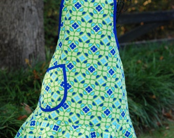 Adult Apron / Lime Green Print Apron with Royal Blue Trim