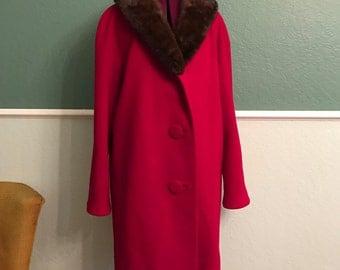 1960s Red Oversized Swing Coat Mink Collar L