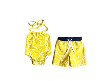 Brother and Sister matching swimsuits, lemonade party matching outfits, siblings swimsuits, yellow lemon swimsuit