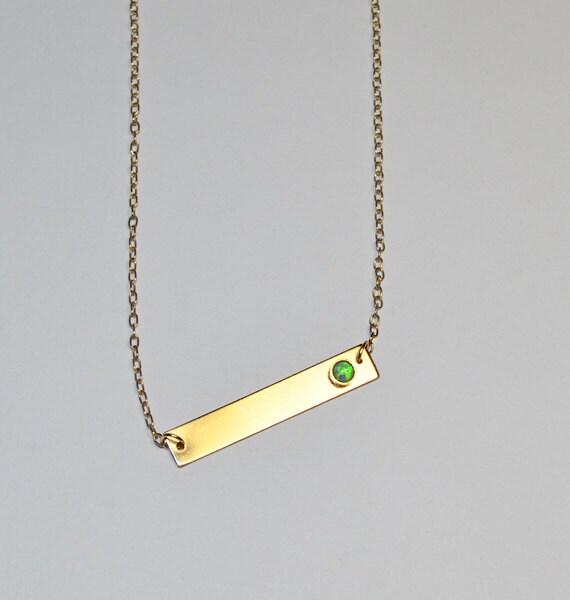 green opal horizontal bar necklace gold opal necklace opal. Black Bedroom Furniture Sets. Home Design Ideas