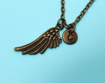 Angel Wing Charm Necklace Bronze Angel Wing Charm Personalized Necklace Initial Charm Necklace Monogram Jewelry Customized Jewelry