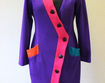 Vintage 1990's Color Block buttondown dress/Party/Career/neon multi-color/Patty O'Neil New York/Made in the U.S.A/size 10 Women's/RARE Dress