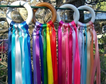 Ribbon Wand / Wind Wand / Hand Kite / Dancing Wand / Ribbon Ring / Party Favourite   ** FREE Postage