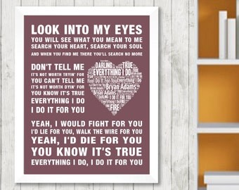 BRYAN ADAMS Everything I Do Music Love Song lyrics Word Art Print Poster Memorabilia  Picture Artwork Home Decor Gift Framed Free UK Post