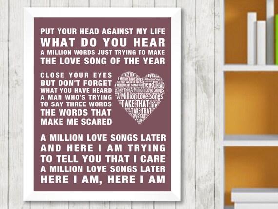 TAKE THAT - A MILLION LOVE SONGS LYRICS