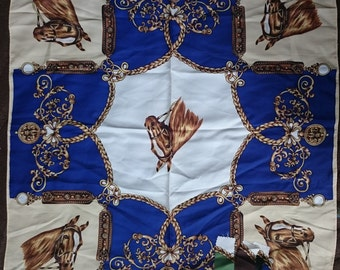 Vintage Square Polyester Scarf - Equestrian Design - Royal Blue, Brown, Gold and Cream - Unused and Perfect From 1970s Stock
