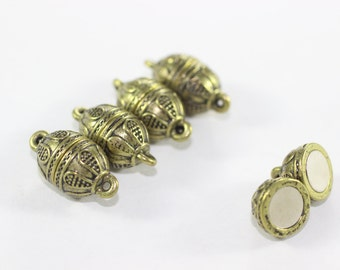 3 Sets Antique Bronze Magnetic Clasps, 10x18 mm Authentic Ball Clasps, Rustic Magnetic Clasp, Round Bracelet Clasps, BMCT