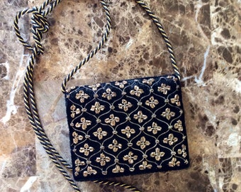 Art Deco vintage purse / black / gold / evening purse/burlesque/1920's purse/ clutch/ vintage