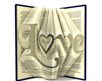 Book folding patterns - LOVE - 278 folds,  + Tutorial folded art Valentine's Day DIY gift - Heart - WO0103