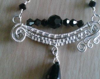 Sterling silver handmade necklace swarovsky crystal necklace wire wrapped sterling silver necklace