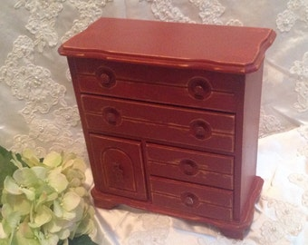 Jewelry Box Shabby Chic Red  Upcycled Vintage Wood Jewelry Box Distressed Painted Jewelry Box