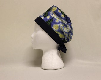 Blue Van Gogh's Starry Night Style Surgical Scrub Cap Chemo Dental Hat
