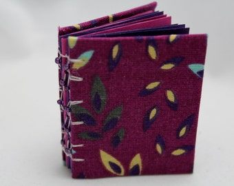 Mini Book with Purple Leaves, Small Journal