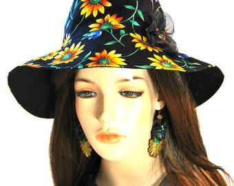 Girl's Daisy Sun hat with Organza Flower