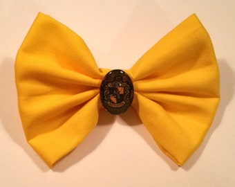 Harry Potter Inspired Hufflepuff Hair Bow with Clip