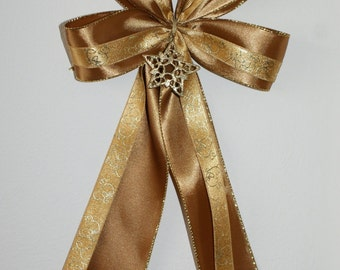5 large satin bows in set -Christmas tree,wreaths,present,gift decoration-golden star embellishment-handmade to order