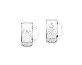 Set of 2 christmas beer mugs, Christmas gift, christmas beer mug, laser etched, holiday beer mug,candy cane, christmas tree, beer glass