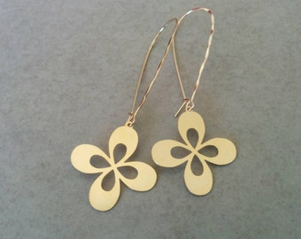 Gold Flower Earrings, Flower Earrings, Gold Earrings, Long Earrings, Dangle Earrings, Gift For Her, Gold Dangle Earrings, Long Gold Earrings